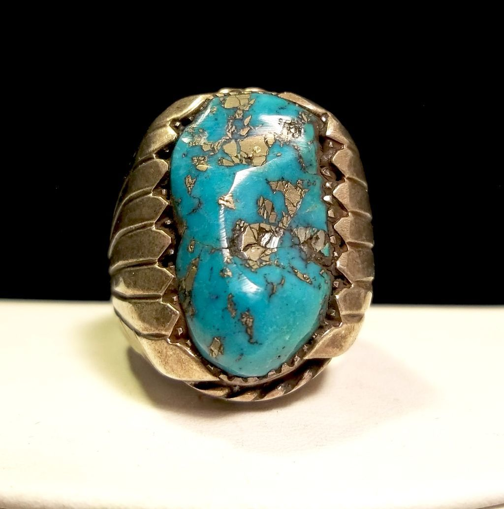 Old Pawn Indian Navajo Mens Sterling Silver Turquoise