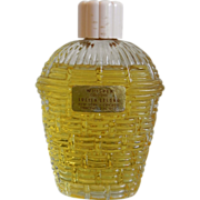 Rare Lucien Lelong 'WHISPER' 2 oz Cologne Basketweave Bottle Bakelite Cap
