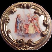 "Elegant 4"" Miniature Ornate Ormolu Hand Mirror for Dolls"