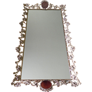 Jeweled Ormolu Goddess Chariot Perfume Bottle Tray Vintage Vanity Mirror