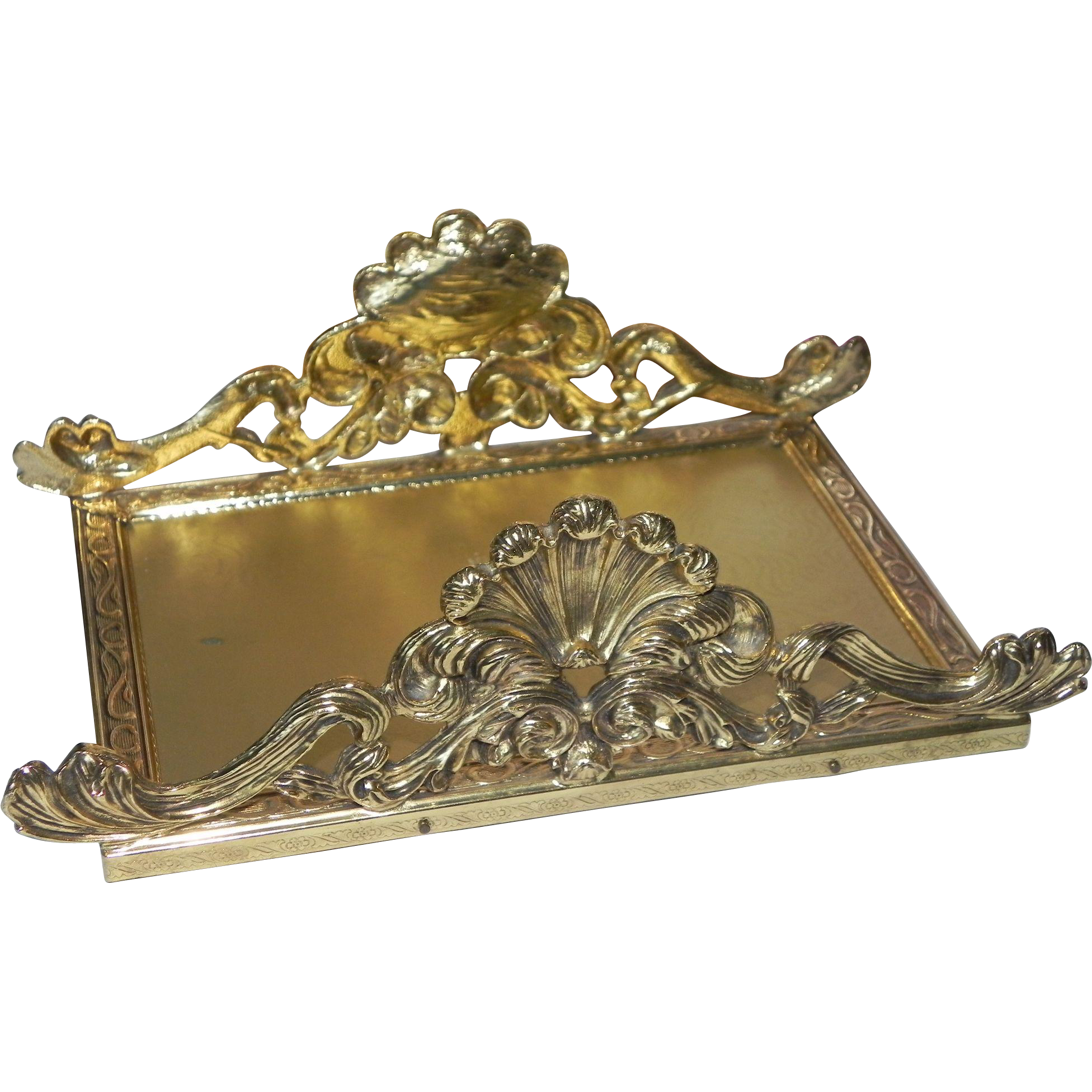 Ornate ormolu guest hand towel napkin letter mail holder for Gold letter rack