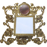 Vintage Ormolu Jeweled Rose Pink Glass Chariot Photo Frame or Dollhouse Miniature