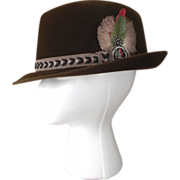 New Luxurious Superb Velour Fur Felt Hat Dunlap Supreme Brown Feather Size 7 1/4
