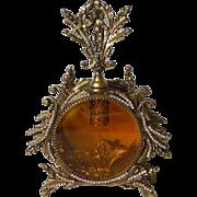 Second AB Jeweled Custom Swarovski Ormolu Cherub Bird Amber Vanity Perfume Bottle 2 of 2 Complete with Dabber
