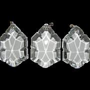 Set/s of 3 Vintage Clear Crystal Beveled Prism Chandelier Candelabra Girandole Sconce Luster Oil Lamp Replacement Part