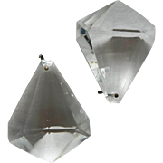 Set/s of 2 Vintage Clear Crystal Beveled Prism Chandelier Candelabra Girandole Sconce Luster Oil Lamp Replacement Part (G)