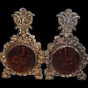 Pair Ormolu Amber Beveled Glass Goddess Chariot Cherub Set of Perfume Bottles Vintage Vanity