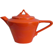 Vintage Harlequin Teapot (Radioactive) Red Orange 1940s Homer Laughlin HLC Fiesta Ware Fiestaware