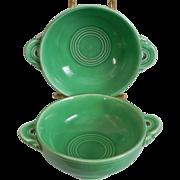 Set of 2 Vintage Fiesta Cream Soup Bowl Original Green Lug Handled 1930-50s Homer Laughlin HLC Fiestaware