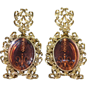 Matching Pair of Rose Peach Beveled Glass Ormolu Ornate Ribbon Swag Vintage Vanity Perfume Bottles Complete Set of 2