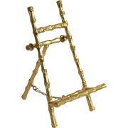 """Vintage Faux Bamboo Gilt Ormolu 6"""" Miniature Display Easel for Plates Pictures or French Dolls Mini"""