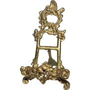 "Ornate Cast Brass 6"" Miniature Vintage Display Easel for Plates Pictures or French Dolls Mini"