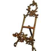 "Ornate Vintage Cast Brass 9"" Miniature Display Stand Easel for Plates Pictures or French Dolls Mini"