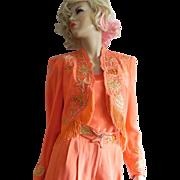 Stunning Vintage Lillie Rubin Jeweled Beaded Fringe Coral Silk Bolero Jacket Top Pant Suit S M