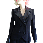 Chic Vintage Lillie Rubin Black Paillettes Sequin Santana Knit Beaded Jacket Skirt Set Suit S M
