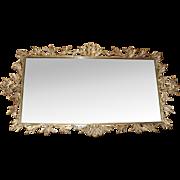 Swarovski Jeweled AB Rhinestone Ormolu Putti Cherub Bird Plateau Footed Perfume Mirror Vanity Tray
