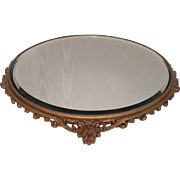 "Antique 12.5"" Round Plateau Tabletop Beveled Mirror Cake Plate Ormolu Perfume Tray"