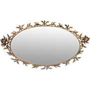 Ornate Ormolu Putti Cherub Bird Perfume Mirror Boudoir Vanity Tray