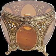 Large Stunning Jeweled Ormolu Amber Glass Jewelry Casket Box Tufted Vitrine Vintage Vanity