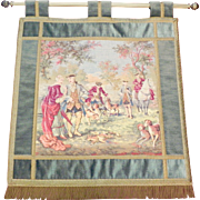 Vintage Belgium Fringed Wall Tapestry with Hanging Rod French Pastoral Hunting Scene