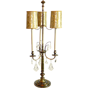 Stiffel Bouillotte Crystal Prism 3 Arm Brass Candlestick Table Lamp Original Faux Tortoise Shades