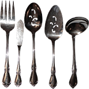 Set of 5 Vintage Oneidacraft Deluxe CHATEAU Serving Stainless Flatware Oneida Craft