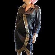 Lillie Rubin Black and Gold Leather Jacket Skirt Suit Set