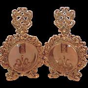 Pair Rose Beveled Glass Ormolu Vanity Perfume Bottles