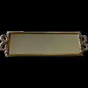 Tassel Rope Ormolu Perfume Tray Display Mirror Vintage Vanity