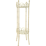 Chinoiserie Faux Bamboo Metal Plant Display Stand Chinese Chippendale