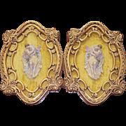 Large Pair of Italian Florentine Gold Gilt Gesso Frames Porcelain Wall Plaques