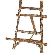 "Faux Bamboo Gilt Ormolu 4"" Miniature Display Easel Stand for Mini Plates Canvas Pictures French Dolls"