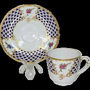 Limoges Ancienne Manufacture Royale DECOR MOSAIQUE Gilded Cup Saucer Set