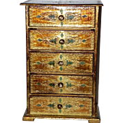 Rare Large Italian Florentine Gold Emerald 5 Drawer Jewelry Box Italy Miniature Dresser Chest