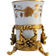 Porcelain Cup with Tassel Rope Ormolu Footed Holder