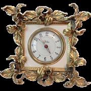 Working Ormolu Iris Pattern Electric Alarm Clock