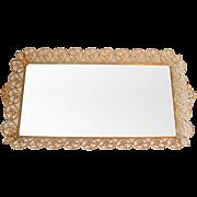 Large Jeweled Aurora Borealis AB Faux Pearl Ormolu Vanity Mirror Perfume Tray