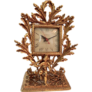 Working Ormolu Putti Cherub Bird Dove Electric Alarm Clock