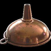 """Large Vintage 8"""" Diameter Unlined Copper Kitchen Funnel Rolled Rim"""