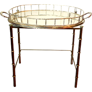 XLarge Oval Brass Faux Bamboo Display Serve Tray Chinoiserie