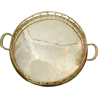 Round Brass Faux Bamboo Display Serve Tray Chinoiserie Style