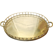 Vintage Oval Brass Faux Bamboo Handled Display Serve Tray Chinoiserie Style