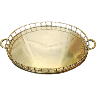 Oval Brass Faux Bamboo Handled Display Serve Tray Chinoiserie Style