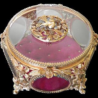 Signed Matson Ormolu Dogwood Bird Vitrine Jewelery Box