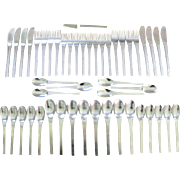Service for 8 Oxford Hall ZEUS Stainless Flatware 49pcs MCM