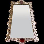 Large Vintage Footed Ormolu Jeweled Beveled Rose Glass Perfume Bottle Tray Mirror