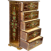 Large Italian Florentine Gold Emerald 5 Drawer Jewelry Box Italy or Miniature Doll Chest