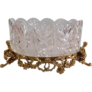 Cut Crystal Centerpiece Bowl with Ornate Ormolu Figurine Footed Base Germany
