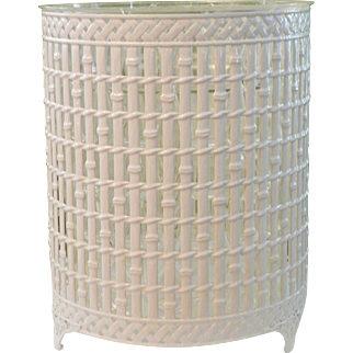 Faux Bamboo Trellis Metal Wastepaper Basket with Liner Chinoiserie Style