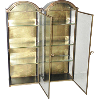 Pair Vintage Chapman Co Metal and Brass Wall Vitrine Curio Display Cabinet Case Set of 2